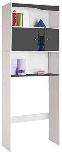 IDMarket - Meuble étagère dessus wc bois coloris gris